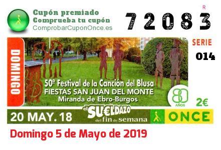 Sueldazo ONCE premiado el Domingo 20/5/2018