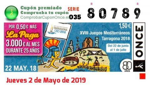 Cupón ONCE premiado el Martes 22/5/2018