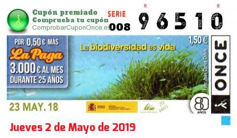 Cupón ONCE premiado el Miercoles 23/5/2018
