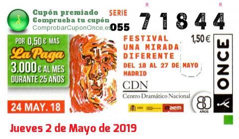 Cupón ONCE premiado el Jueves 24/5/2018