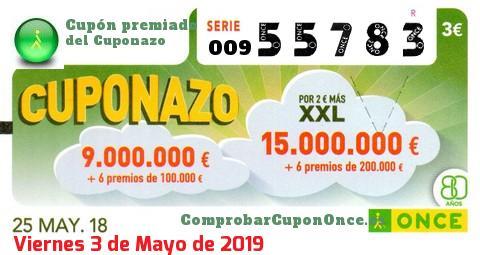 Cuponazo ONCE premiado el Viernes 25/5/2018