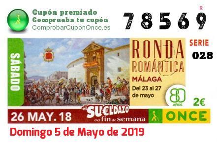 Sueldazo ONCE premiado el Sabado 26/5/2018