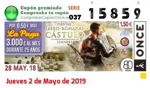 Cupón ONCE premiado el Lunes 28/5/2018