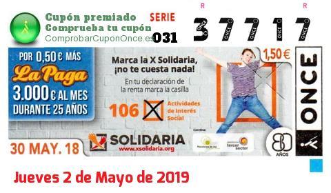 Cupón ONCE premiado el Miercoles 30/5/2018