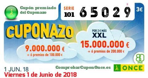 Cuponazo ONCE premiado el Viernes 1/6/2018