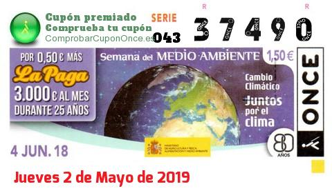 Cupón ONCE premiado el Lunes 4/6/2018