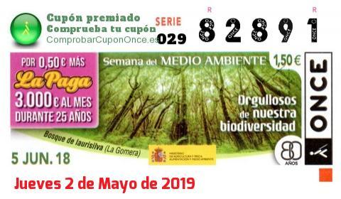 Cupón ONCE premiado el Martes 5/6/2018