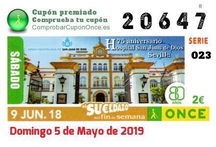 Sueldazo ONCE premiado el Sabado 9/6/2018