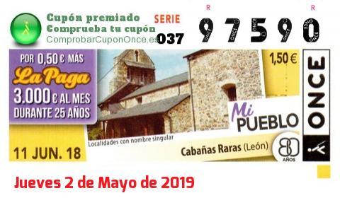 Cupón ONCE premiado el Lunes 11/6/2018
