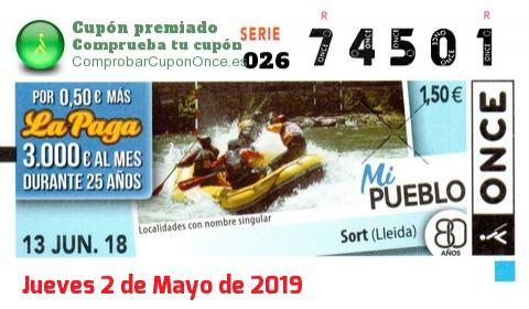 Cupón ONCE premiado el Miercoles 13/6/2018