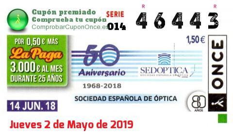 Cupón ONCE premiado el Jueves 14/6/2018