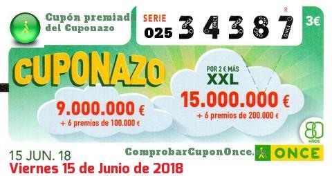 Cuponazo ONCE premiado el Viernes 15/6/2018