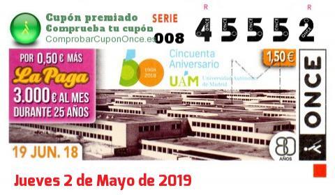 Cupón ONCE premiado el Martes 19/6/2018