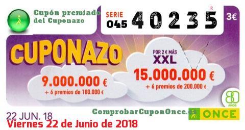 Cuponazo ONCE premiado el Viernes 22/6/2018