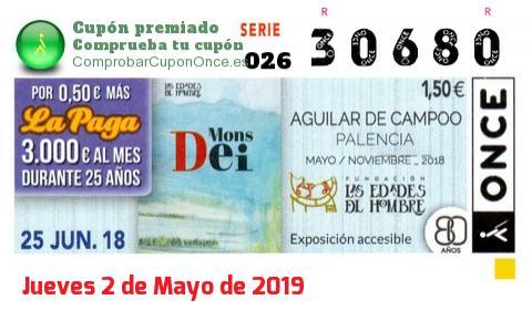 Cupón ONCE premiado el Lunes 25/6/2018