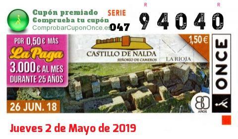Cupón ONCE premiado el Martes 26/6/2018