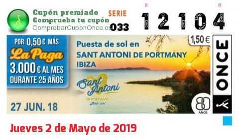 Cupón ONCE premiado el Miercoles 27/6/2018