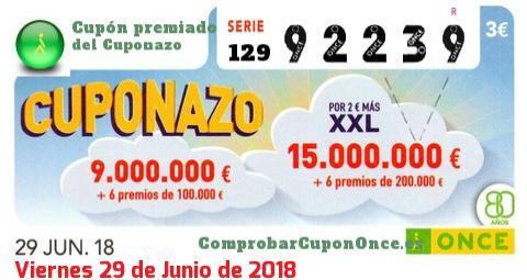 Cuponazo ONCE premiado el Viernes 29/6/2018