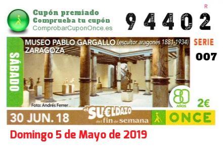 Sueldazo ONCE premiado el Sabado 30/6/2018
