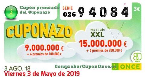 Cuponazo ONCE premiado el Viernes 3/8/2018