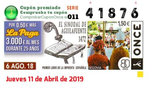 Cupón ONCE premiado el Lunes 6/8/2018