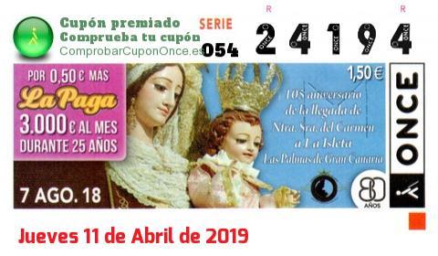 Cupón ONCE premiado el Martes 7/8/2018