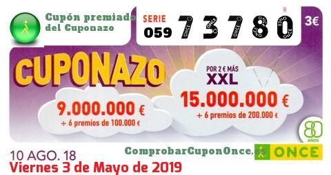 Cuponazo ONCE premiado el Viernes 10/8/2018