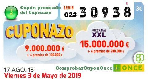 Cuponazo ONCE premiado el Viernes 17/8/2018