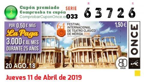 Cupón ONCE premiado el Lunes 20/8/2018