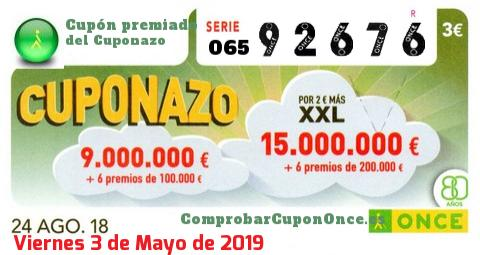 Cuponazo ONCE premiado el Viernes 24/8/2018