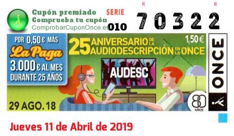 Cupón ONCE premiado el Miercoles 29/8/2018
