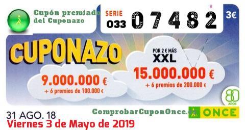 Cuponazo ONCE premiado el Viernes 31/8/2018