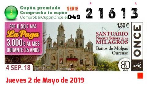Cupón ONCE premiado el Martes 4/9/2018