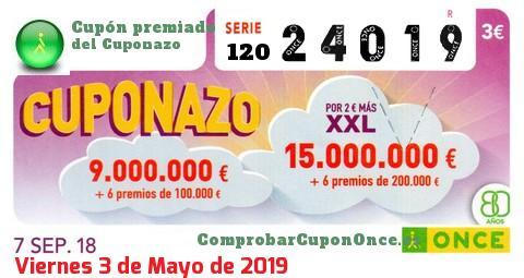 Cuponazo ONCE premiado el Viernes 7/9/2018