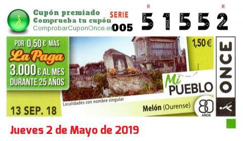 Cupón ONCE premiado el Jueves 13/9/2018