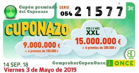 Cuponazo ONCE premiado el Viernes 14/9/2018