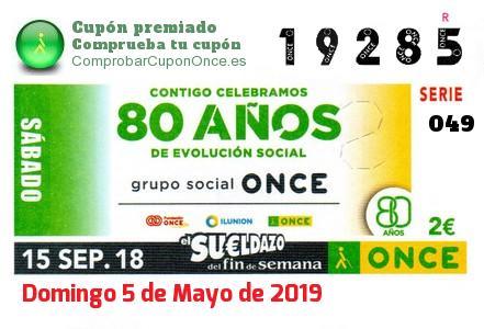 Sueldazo ONCE premiado el Sabado 15/9/2018