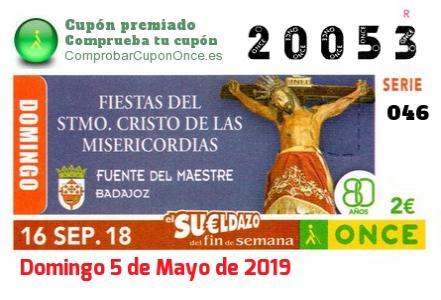 Sueldazo ONCE premiado el Domingo 16/9/2018