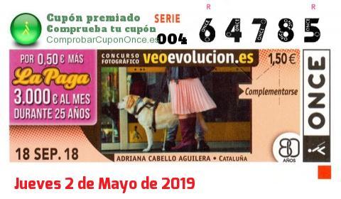 Cupón ONCE premiado el Martes 18/9/2018