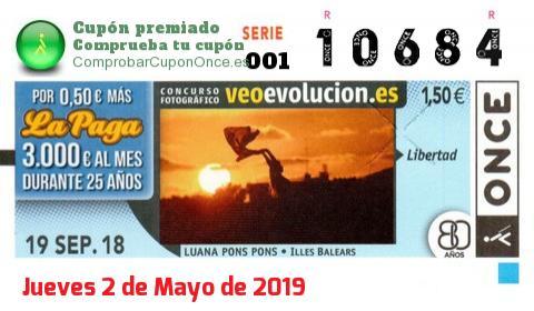 Cupón ONCE premiado el Miercoles 19/9/2018