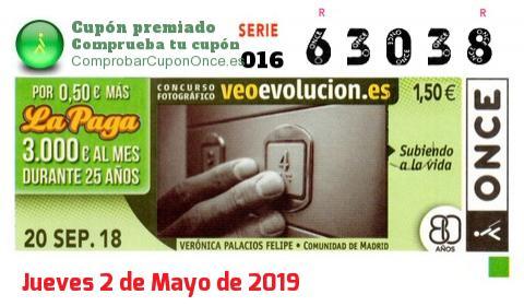 Cupón ONCE premiado el Jueves 20/9/2018