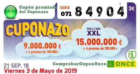 Cuponazo ONCE premiado el Viernes 21/9/2018