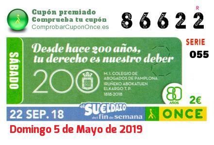 Sueldazo ONCE premiado el Sabado 22/9/2018