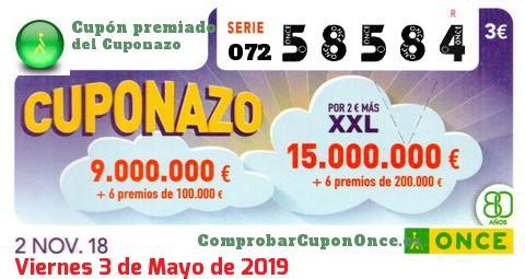 Cuponazo ONCE premiado el Viernes 2/11/2018