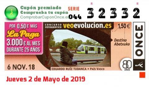 Cupón ONCE premiado el Martes 6/11/2018