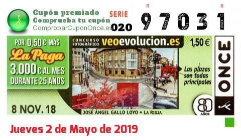 Cupón ONCE premiado el Jueves 8/11/2018
