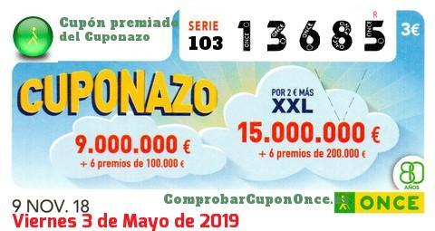 Cuponazo ONCE premiado el Viernes 9/11/2018