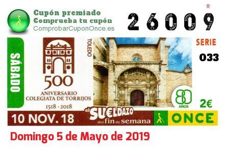 Sueldazo ONCE premiado el Sabado 10/11/2018