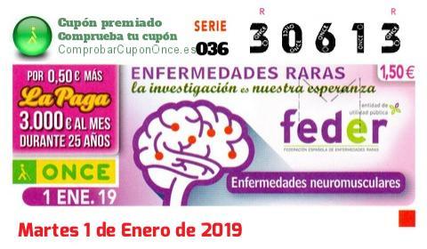 Cupón ONCE premiado el Martes 1/1/2019