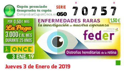 Cupón ONCE premiado el Jueves 3/1/2019
